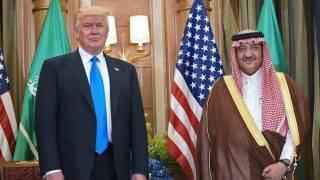 US President Donald Trump and Saudi Crown Prince Muhammad bin Nayif bin Abdulaziz al-Saud take part in a bilateral meeting at a hotel in Riyadh on May 20, 2017. / AFP PHOTO / MANDEL NGAN