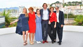 (FromL) Slovak actress Ieva Norvele-Kristof, Latvian actress Ieva Aleksandrova-Eklone, Slovak actress Judit Bardos, Slovak director Gyorgy Kristof, Slovak actress Eva Bandor and Hungarian actor Sandor Terhes pose on May 22, 2017 during a photocall for the film 'Out' at the 70th edition of the Cannes Film Festival in Cannes, southern France.  / AFP PHOTO / LOIC VENANCE