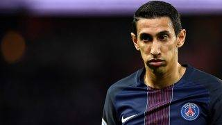 """(FILES) This file photo taken on April 09, 2017 shows Paris Saint-Germain's Argentinian forward Angel Di Maria reacting during the French L1 football match between Paris Saint-Germain and Guingamp at the Parc des Princes stadium, in Paris. Searches were made in the morning, on May 23, 2017 at the PSG headquarters and at the houses of players Angel Di Maria and Javier Pastore as part of the investigation opened in France after the revelations on the """"Football Leaks"""", according to close sources. / AFP PHOTO / FRANCK FIFE"""