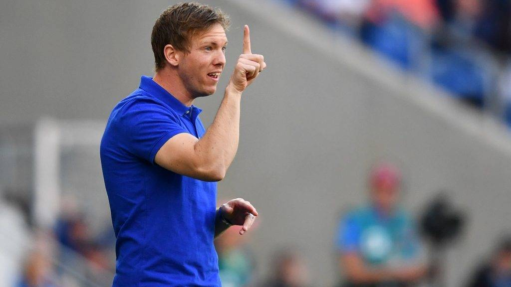 Hoffenheim's coach Julian Nagelsmann reacts during the Bundesliga soccer match between 1899 Hoffenheim and Eintracht Frankfurt at the Rhein-Neckar-Arena in Sinsheim, Germany, 30 April 2017.  (EMBARGO CONDITIONS - ATTENTION: Due to the accreditation guidlines, the DFL only permits the publication and utilisation of up to 15 pictures per match on the internet and in online media during the match.) Photo: Uwe Anspach/dpa