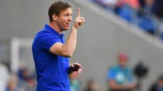 Hoffenheim's coach Julian Nagelsmann reacts during the Bundesliga soccer match between 1899 Hoffenheim and Eintracht Frankfurt at the Rhein-Neckar-Arena in Sinsheim, Germany, 30 April 2017.
