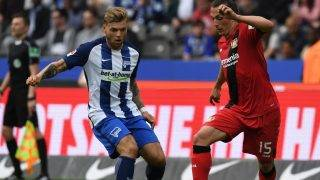 Berlin's Alexander Esswein (L) in action against Leverkusen's Julian Baumgartlinger during the German Bundesliga soccer match between Hertha BSC and Bayer Leverkusen in the Olympic Stadium in Berlin, Germany, 20 May 2017.