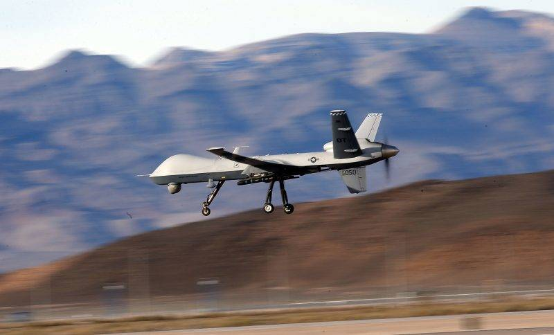 INDIAN SPRINGS, NV - NOVEMBER 17: (EDITORS NOTE: Image has been reviewed by the U.S. Military prior to transmission.) An MQ-9 Reaper remotely piloted aircraft (RPA) flies by during a training mission at Creech Air Force Base on November 17, 2015 in Indian Springs, Nevada. The Pentagon has plans to expand combat air patrols flights by remotely piloted aircraft by as much as 50 percent over the next few years to meet an increased need for surveillance, reconnaissance and lethal airstrikes in more areas around the world.   Isaac Brekken/Getty Images/AFP