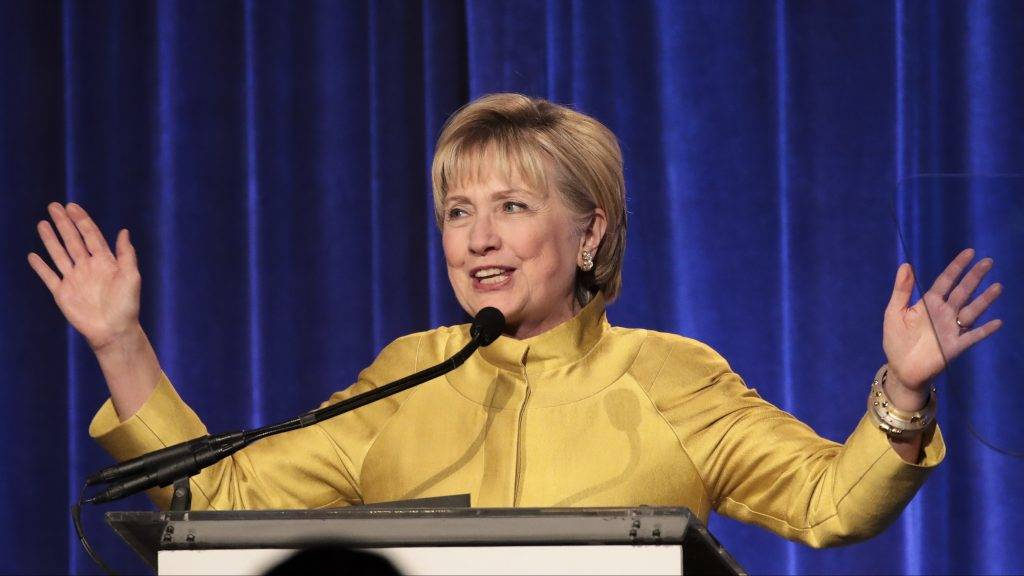 NEW YORK, NY - APRIL 20: Former U.S. Secretary of State Hillary Clinton delivers remarks at the annual LGBT Center dinner, April 20, 2017 in New York City. Clinton was awarded the Trailblazer Award from the LGBT Center.   Drew Angerer/Getty Images/AFP