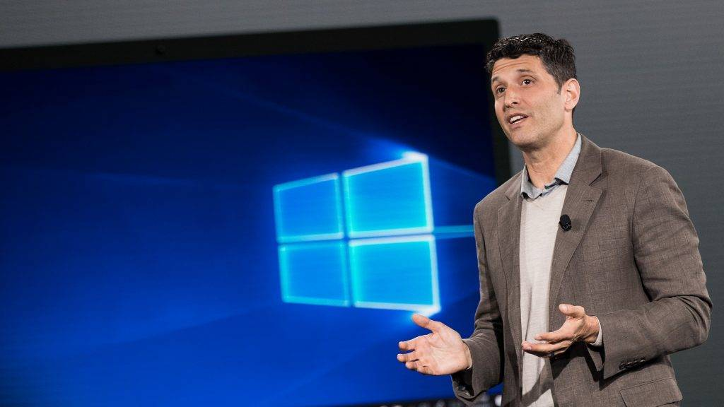 NEW YORK, NY - MAY 2: Terry Myerson, executive vice president of the Microsoft Windows and Devices Group, speaks about the new Microsoft Windows 10 S operating system during a Microsoft launch event, May 2, 2017 in New York City. The Windows 10 S operating system is geared toward the education market and is Microsoft's answer to Google's Chrome OS.   Drew Angerer/Getty Images/AFP