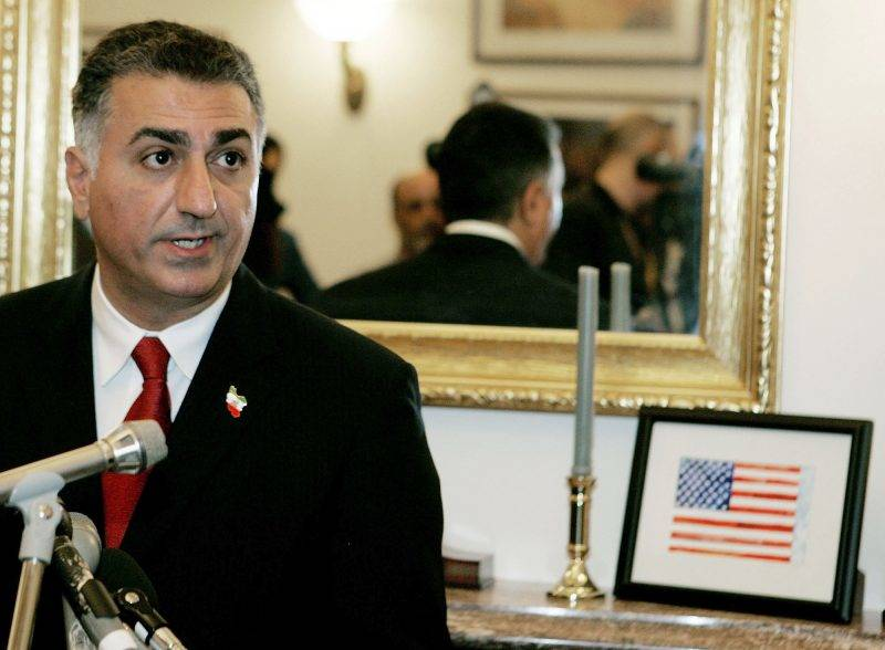 Reza Pahlavi, the son of the former Shah of Iran Mohammad Reza Pahlavi, speaks to reporters during a news conference at the US Capitol 14 September 2006 in Washington, DC. The news conference was held to discuss the growing relationship between Latin American governments, labeled totalitarian at the press conference, and Iran.   Mark Wilson/Getty Images/AFP  =FOR NEWSPAPER, INTERNET, TELCOS AND TELEVISION USE ONLY=