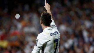 MADRID, SPAIN - MAY 2:  Cristiano Ronaldo of Real Madrid (L) celebrates after scoring a goal during UEFA Champions League semi final match between Real Madrid and Atletico Madrid at Santiago Bernabeu Stadium in Madrid, Spain on May 2, 2017. Burak Akbulut / Anadolu Agency