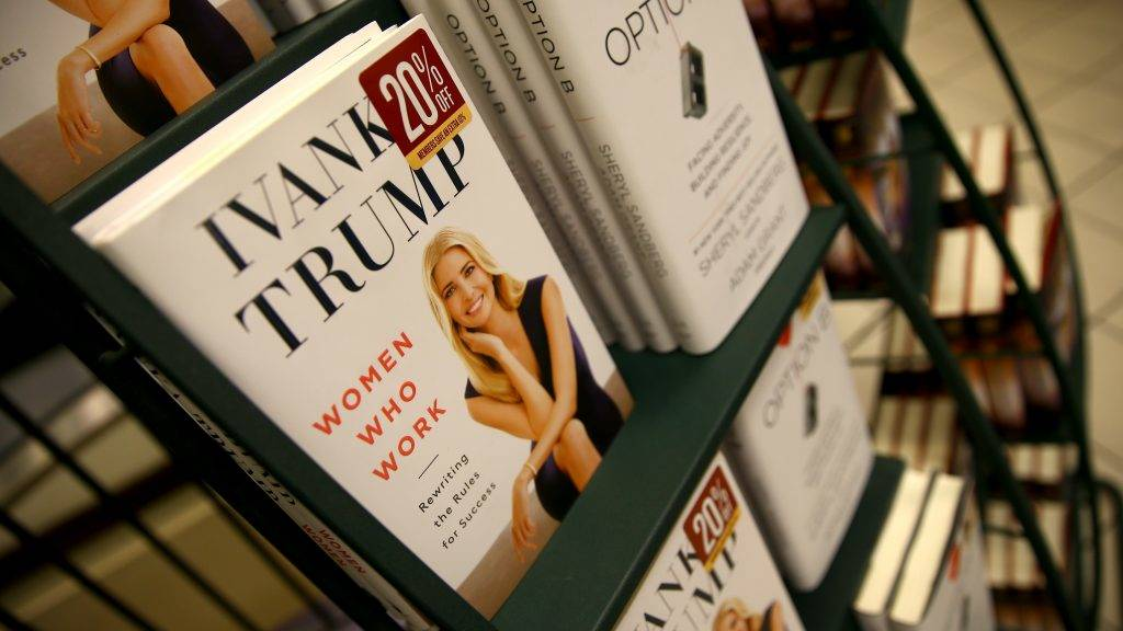 """NEW YORK, USA - MAY 2 :  Copies of Ivanka Trump's latest book, """"Women Who Work: Rewriting the Rules for Success"""" are seen on display at a bookstore in New York, United States on May 2, 2017. Volkan Furuncu / Anadolu Agency"""