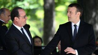 PARIS, FRANCE - MAY 10: Outgoing French President Francois Hollande and President elect Emmanuel Macron attend a ceremony to mark the anniversary of the abolition of slavery and to pay tribute to the victims of the slave trade at the Jardins du Luxembourg on May 10, 2017 in Paris, France. Philip Rock / Anadolu Agency
