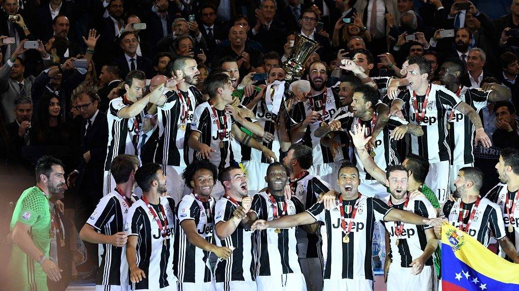 ROME, ITALY - May 17 :  Juventus players celebrate with the trophy after winning the TIM Cup final football match against SS Lazio at Stadio Olimpico on May 17,2017 in Rome Italy. Claudio Pasquazi / Anadolu Agency
