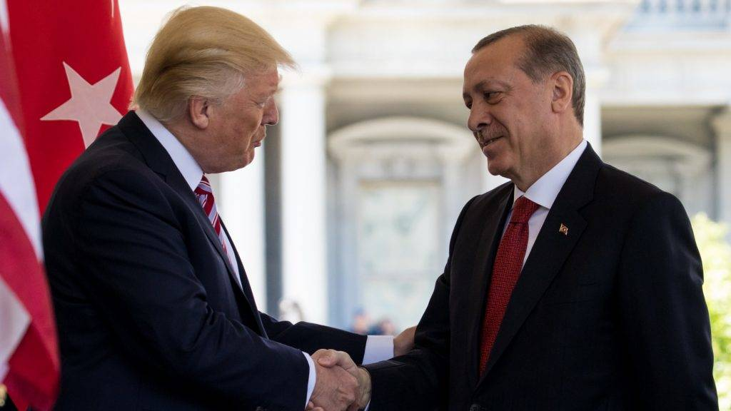 President Trump welcomed  President Recep Tayyip Erdogan of Turkey, at the West Wing Portico (North Lawn) of the White House, On Monday, May 16, 2017.  (Photo by Cheriss May/NurPhoto)