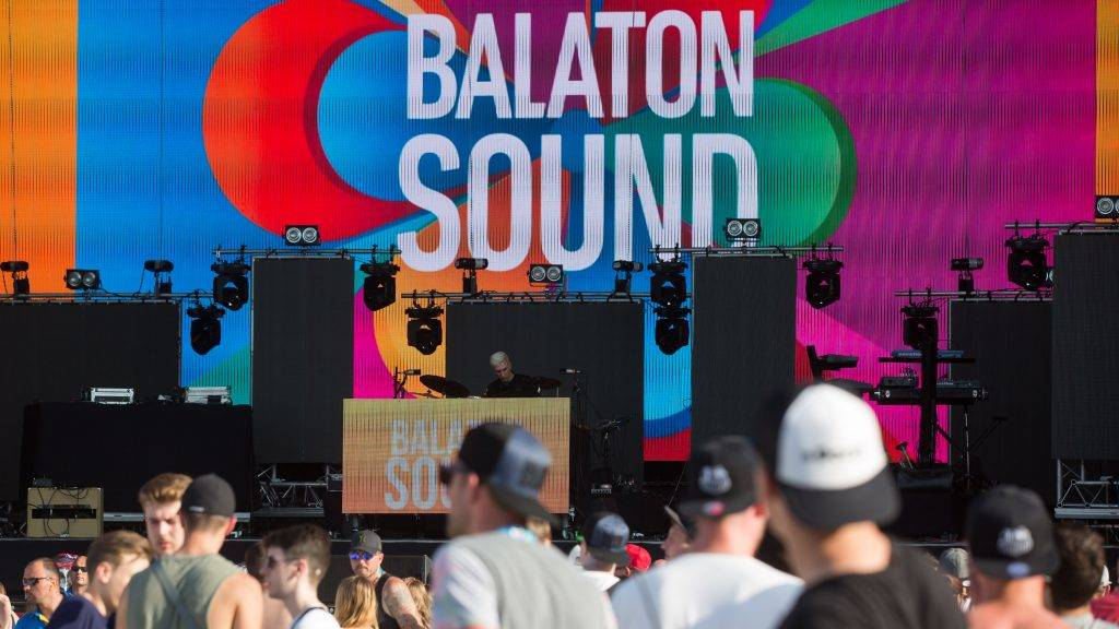 People enjoy music during the Balaton Sound music festival on the shore of lake Balaton in Zamardi, Hungary on July 6, 2016. 2016 Balaton Sound music festival is held from July 6 to July 10.