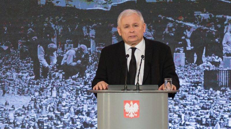 Leader of 'Law and Justice' (PiS) party, Jaroslaw Kaczynski during ceremonies commemorating the 7th anniversary of the presidential plane crash near Smolensk, at the Chancellery of the Prime Minister in Warsaw, Poland on 10 April 2017 (Photo by Mateusz Wlodarczyk/NurPhoto)