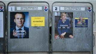 Electoral posters of the second round for the Presidential in France. Paris, France, May 4, 2017.