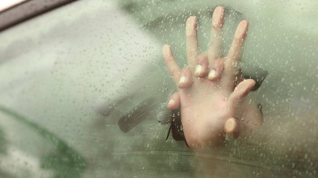 Couple holding hands having sex inside a car with a steamy window