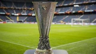 The trophy is on display next to the pitch at the Friends Arena in Solna outside Stockholm on May 23, 2017, on the eve of the UEFA Europa League football final between Ajax Amsterdam and Manchester United. / AFP PHOTO / Odd ANDERSEN