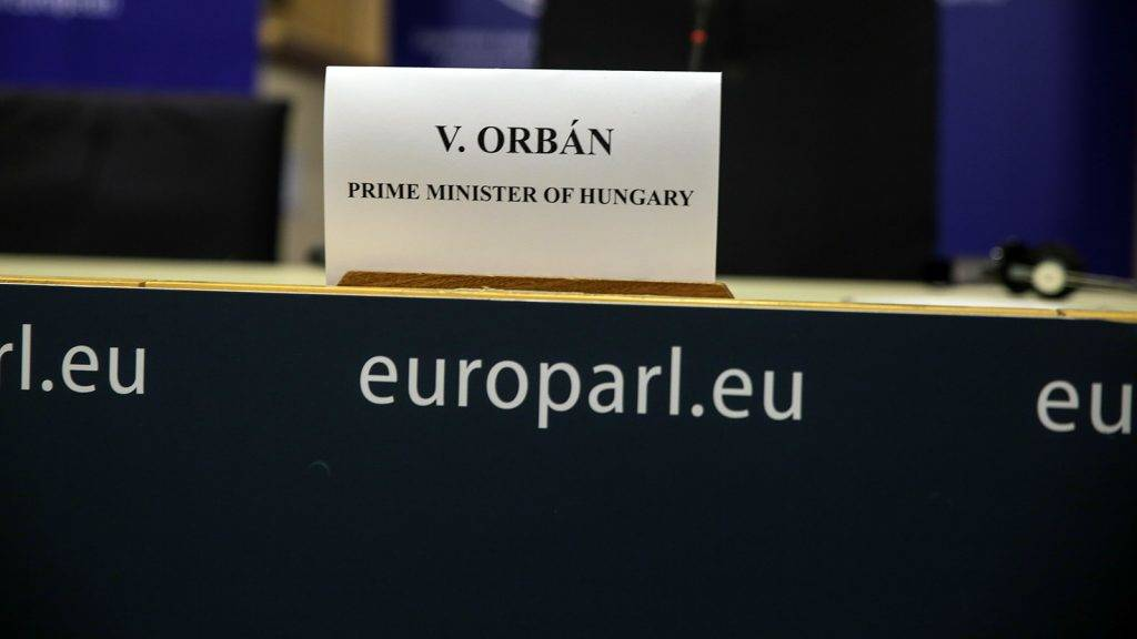 Plenary Session of the European Parliament. Press Conference by Victor Orban, Hungarian Prime Minister, on the niscussion on Hungary in Brussels, Belgium on Apr. 26, 2017