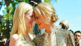 CANNES, FRANCE - MAY 21:  (EDITORS NOTE: This image was processed using digital filters.) Actresses Elle Fanning (L) and Nicole Kidman attend the 'How To Talk To Girls At Parties' screening during the 70th annual Cannes Film Festival at on May 21, 2017 in Cannes, France. (Photo by Pascal Le Segretain/Getty Images) Restrictions