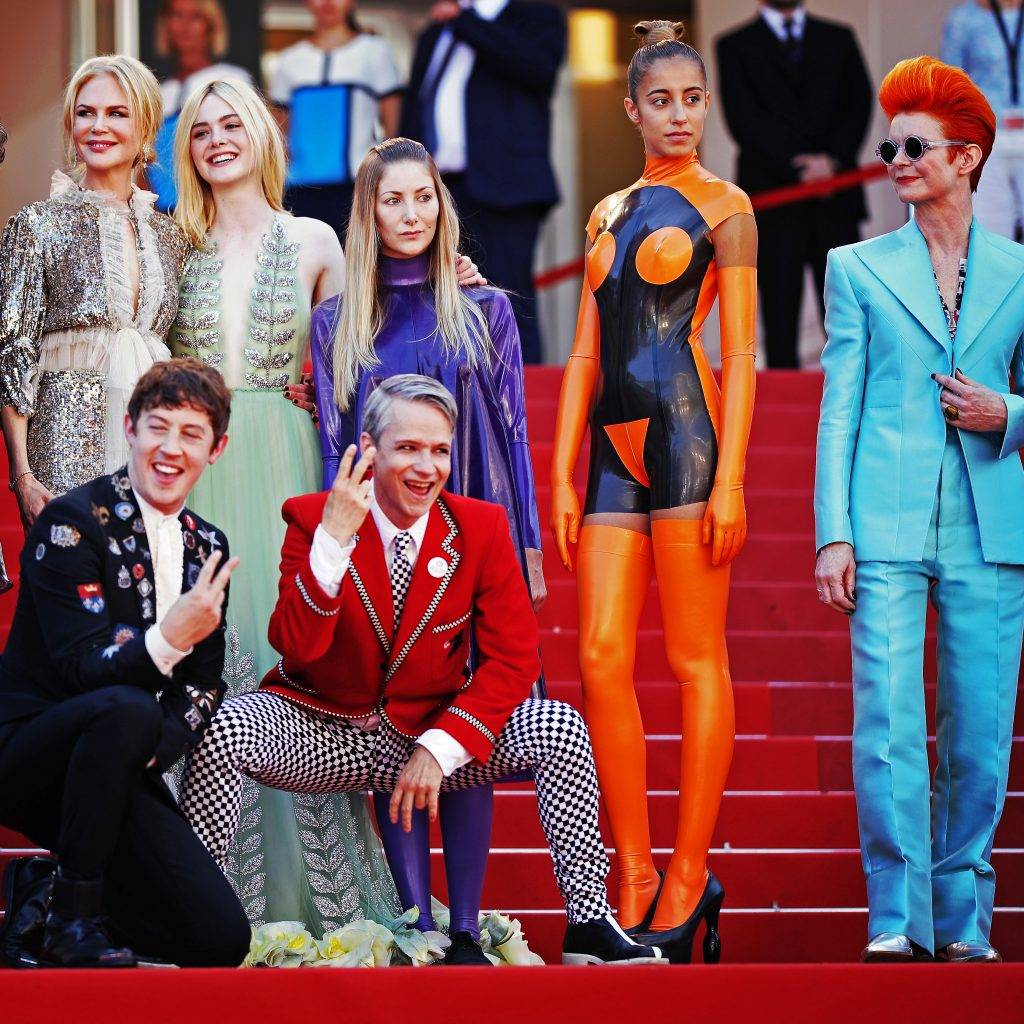 CANNES, FRANCE - MAY 21:  (EDITORS NOTE: This image was processed using digital filters.) Actresses Nicole Kidman, Elle Fanning, actors Alex Sharp, AJ Lewis, director John Cameron Mitchell and costume designer Sandy Powell and the cast of the movie attend the 'How To Talk To Girls At Parties' screening during the 70th annual Cannes Film Festival at Palais des Festivals on May 21, 2017 in Cannes, France. (Photo by Andreas Rentz/Getty Images)