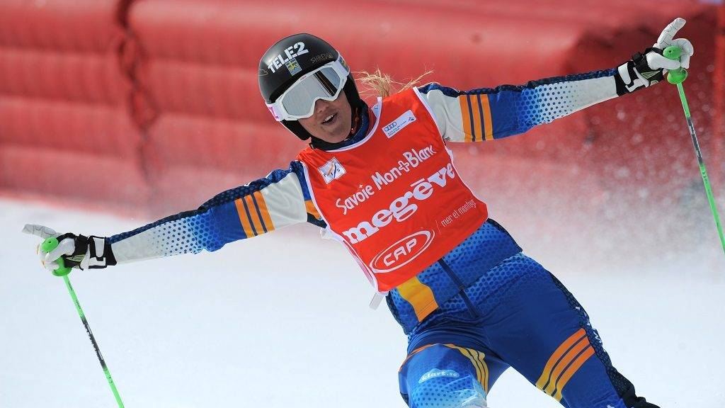 Sweden's Anna Holmlund reacts after winning the women's FIS Skicross World Cup 2015 event on March 13, 2015 in Megeve, French Alps.   AFP PHOTO / JEAN-PIERRE CLATOT / AFP PHOTO / JEAN-PIERRE CLATOT
