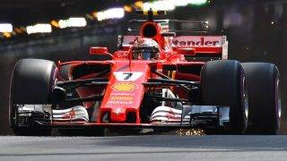 Ferrari's Finnish driver Kimi Raikkonen competes during the third practice session at the Monaco street circuit, on May 27, 2017 in Monaco, a day ahead of the Monaco Formula 1 Grand Prix.  / AFP PHOTO / PASCAL GUYOT