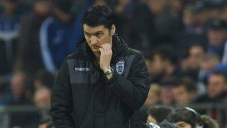 PAOK´s headcoach Vladimir Ivic reacts during the UEFA Europa League round of 32 second-leg football match FC Schalke 04 v PAOK Thessaloniki in Gelsenkirchen, western Germany on February 22, 2017. / AFP PHOTO / PATRIK STOLLARZ