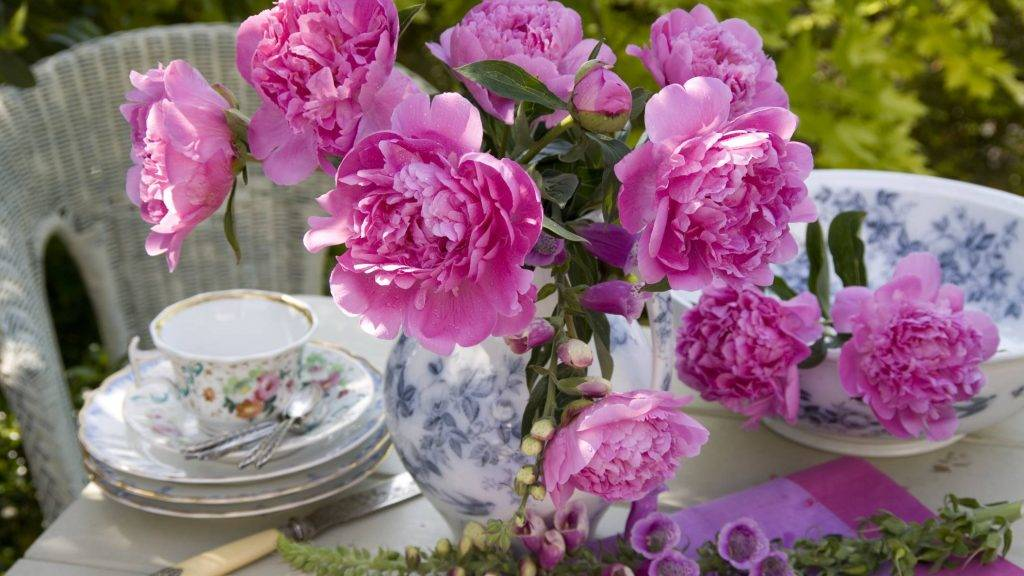 Pink peonies and foxgloves