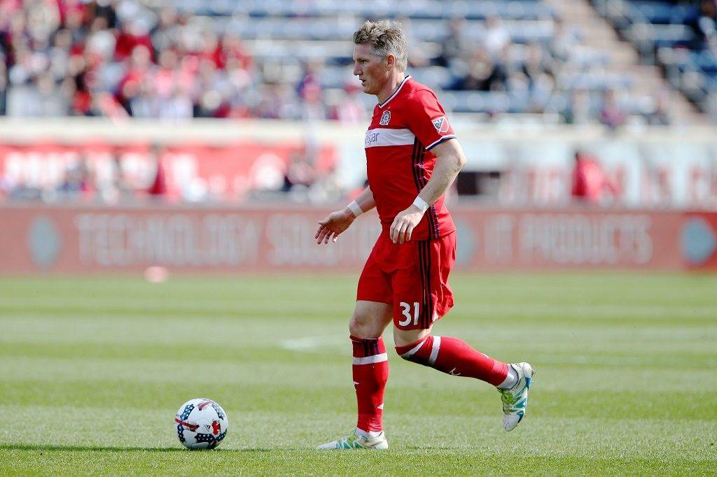 BRIDGEVIEW, IL - APRIL 1: Bastian Schweinsteiger #31 of Chicago Fire dribbles the ball in the second half against the Montreal Impact during an MLS match at Toyota Park on April 1, 2017 in Bridgeview, Illinois.   Dylan Buell/Getty Images/AFP