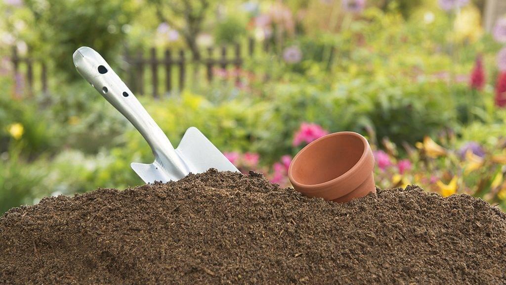 Humus soil - Hand Shovel -Leerer clay pot, in the background the garden
