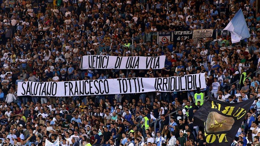 Serie A Lazio v Inter Lazio supporters with a banner greeting the captain of As Roma Francesco Totti that will retire after the last match of the season at Olimpico Stadium in Rome, Italy on May 21, 2017.  (Photo by Matteo Ciambelli/NurPhoto)