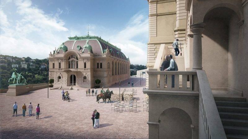 Budapest, 2015. szeptember 30. A beruházást tervezõ Közti Zrt. által 2015. szeptember 30-án közreadott rekonstrukciós látványterven a budavári Csikós-udvar és környezete látható. A lovardát korábbi helyén építik vissza Hauszmann Alajos tervei alapján, eredeti funkcióin túl az épület rendezvénytérként is mûködik majd, így többek között bálokat, mûvészeti vásárokat is befogadhat. A lovas programok kiszolgálására 16 ló tartásához megfelelõ istállót alakítanak ki a várfal alatti földrézsûbe rejtetten, a Csikós-udvarból pedig a szintén újraépítendõ Stöckl-lépcsõ és fal melletti rámpa biztosítja a feljutást. MTI Fotó: Közti Zrt.