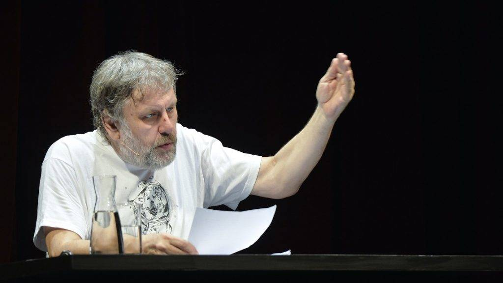 """Vienna - Slavoj Zizek during lecture """"Theology, Negativity, and the Death-Drive"""" on occation of Sigmund Freud Vorlesung 2015 at Burgtheater on 6th May 2015. Slavoj Zizek is a Slovenian Marxist philosopher and cultural critic. He is currently a senior researcher at the Institute for Sociology and Philosophy, University of Ljubljana in Slovenia, Global Distinguished Professor of German at New York University, and international director of the Birkbeck Institute for the Humanities. He writes widely on a diverse range of topics, including political theory, film theory, cultural studies, theology, and psychoanalysis. (Photo credit should read """"HERBERT NEUBAUER/APA-PictureDesk via AFP"""")"""