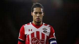 Southampton's Dutch defender Virgil van Dijk reacts during the EFL (English Football League) Cup semi-final first-leg football match between Southampton and Liverpool at St Mary's Stadium in Southampton, southern England on January 11, 2017. / AFP PHOTO / Adrian DENNIS / RESTRICTED TO EDITORIAL USE. No use with unauthorized audio, video, data, fixture lists, club/league logos or 'live' services. Online in-match use limited to 75 images, no video emulation. No use in betting, games or single club/league/player publications.  /