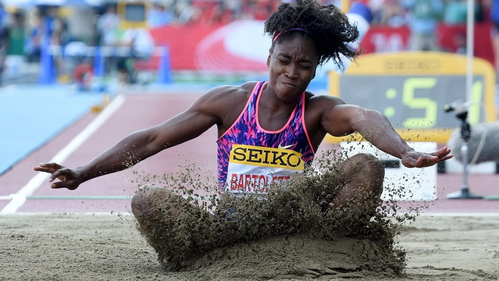 Rio de Janeiro Olympic gold medalist Tianna Bartoletta of the US performs during the women's long jump event in the Golden Grand Prix track and field meet in Kawasaki, suburb of Tokyo on May 21, 2017. / AFP PHOTO / TORU YAMANAKA