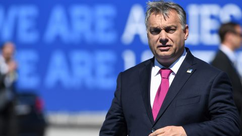 Hungary's Prime Minister Viktor Orban arrives for the NATO (North Atlantic Treaty Organization) summit at the NATO headquarters, in Brussels, on May 25, 2017. / AFP PHOTO / Emmanuel DUNAND