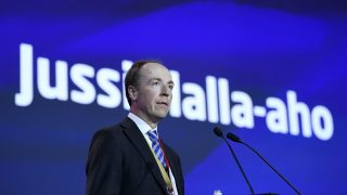 Newly-elected chairman of the Finns Party, Member of the European Parliament (MEP) Jussi Halla-aho delivers his speech at the Finns Party congress in Jyvaskyla, Finland on June 11, 2017.  / AFP PHOTO / Lehtikuva / Jussi Nukari / Finland OUT