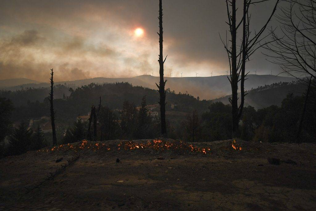 A picture taken on June 18, 2017 shows the village of Campelo after a wildfire, from Figueiro dos Vinhos.