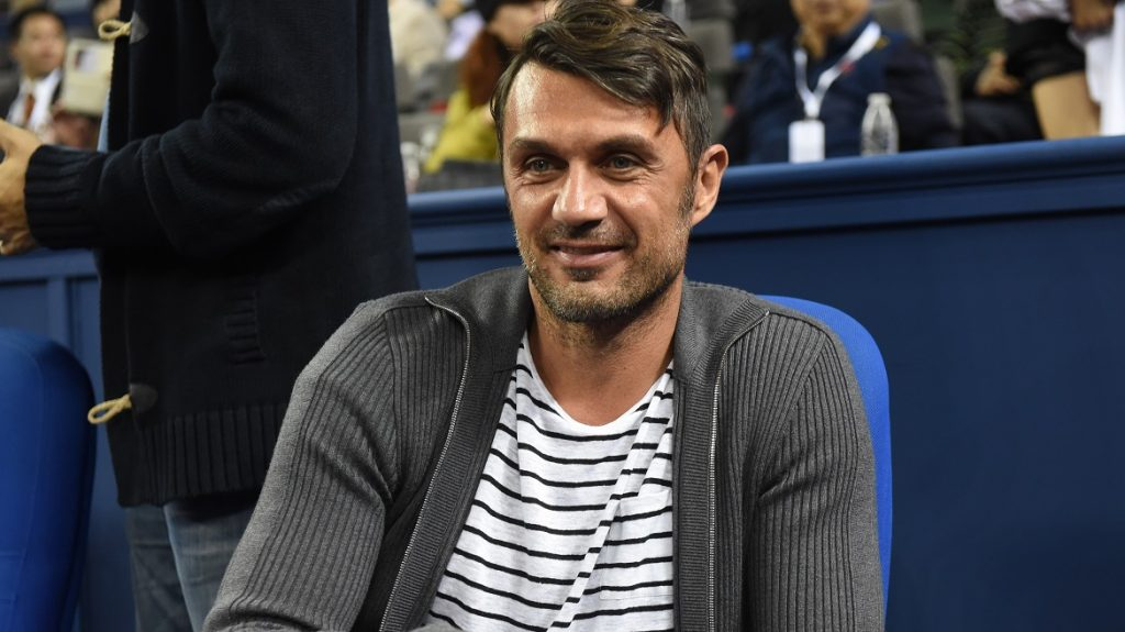 Italian football star Paolo Maldini attends the third round match of the men's singles between Novak Djokovic of Serbia and Mikhail Kukushkin of Kazakhstan during the 2014 Shanghai Rolex Masters tennis tournament in Shanghai, China, 9 October 2014.