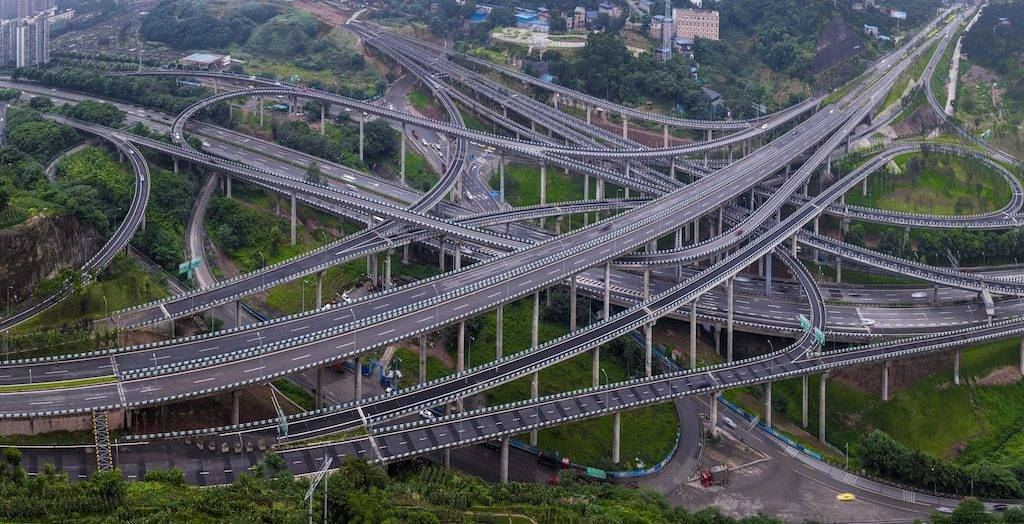 Aerial view of the five-level Huangjuewan Overpass in the Nan'an District of Chongqing, China, 24 June 2017.  The five-level Huangjuewan overpass was erected in the Nan'an District of Chongqing, southwest China. The newly-built overpass consists of 15 ramps with a total length of 16,414 meters.
