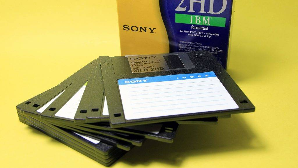 3.5 inch floppy disks with a storage capacity of 1.4 MB. Floppy disks are hardly used in computers today because the storage capacity is too low. Germany, Europe Date: March 19, 2016 | usage worldwide