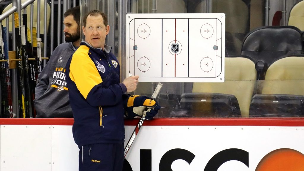 PITTSBURGH, PA - MAY 28: Assistant coach Phil Housley of the Nashville Predators talks in practice during Media Day for the 2017 NHL Stanley Cup Final at PPG PAINTS Arena on May 28, 2017 in Pittsburgh, Pennsylvania.   Bruce Bennett/Getty Images/AFP