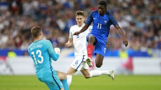 France's forward Ousmane Dembele jumps during the Friendly Game football match between France and England on June 13, 2017 at the Stade de France in Saint-Denis, France - Photo Benjamin Cremel / DPPI