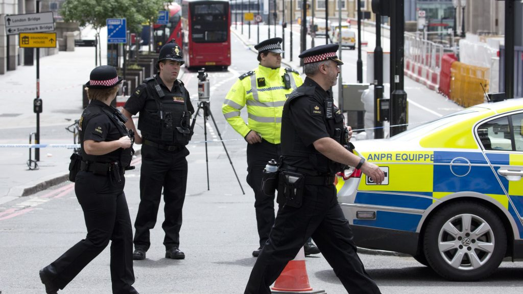 LONDON, UNITED KINGDOM - JUNE  04:  Police officers cordoned off London Bridge following last night terror attack at London Bridge and Borough Market, central London, where seven people were killed in a terror attack in which three assailants were shot dead by police.  Isabel Infantes / Anadolu Agency