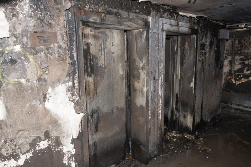 "LONDON, UNITED KINGDOM - JUNE 18: (----EDITORIAL USE ONLY – MANDATORY CREDIT - "" LONDON METROPOLITAN POLICE SERVICE"" - NO MARKETING NO ADVERTISING CAMPAIGNS - DISTRIBUTED AS A SERVICE TO CLIENTS----) An undated handout photo made available by Britain's London Metropolitan Police Service (MPS) on 18 June 2017 shows a view on a burnt-out elevators inside the Grenfell Tower, a 24-storey apartment block in North Kensington, West London, United Kingdom. Police investigates the fire at the Grenfell Tower that broke out on 14 June 2017. At least 58 people are now missing and presumed dead in the Grenfell Tower disaster, police have said. This latest figure includes the 30 already confirmed to have died in the fire. The cause of the fire is yet not known. London Metropolitan Police Service / Anadolu Agency"