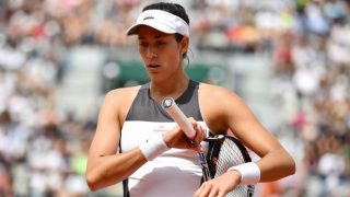 PARIS, FRANCE - JUNE 04: Garbine Muguruza of Spain reacts during the match against Kristina Mladenovic of France in their 4th round match of the French Open tennis tournament at the Roland Garros stadium in Paris, France on June 04, 2017.