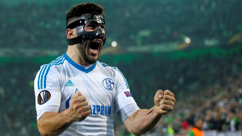 MOENCHENGLADBACH, GERMANY - MARCH 16: Sead Kolasinac of Schalke celebrate the 2-2 against Moenchengladbach after the UEFA Europa League round of 16 soccer match between Borussia Moenchengladbach and FC Schalke 04 at the Borussia Park in Moenchengladbach Germany on March 16, 2017. Ina Fassbender / Anadolu Agency