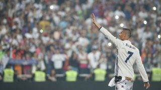 Real Madrid's forward Cristiano Ronaldo celebrates the team's win at the Santiago Bernabeu stadium in Madrid on June 4, 2017 after winning the UEFA Champions League football match final Juventus vs Real Madrid CF held at the National Stadium of Wales in Cardiff on June 3, 2017.  (Photo by Raddad Jebarah/NurPhoto)