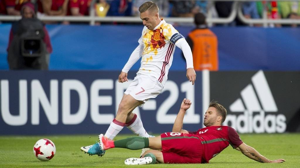 Gerard Deulofeu of Spain tackled by Kevin Rodrigues of Portugal during the UEFA European Under-21 Championship 2017  Group B match between Portugal and Spain at Gdynia Stadium in Gdynia, Poland on June 20, 2017 (Photo by Andrew Surma/NurPhoto)