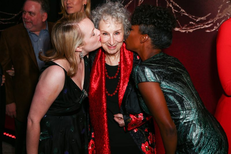 """HOLLYWOOD, CA - APRIL 25:  (L-R) Actor Elisabeth Moss, author Margaret Atwood and actor Samira Wiley attend the premiere of Hulu's """"The Handmaid's Tale"""" at ArcLight Cinemas Cinerama Dome on April 25, 2017 in Hollywood, California.  (Photo by Rich Fury/Getty Images)"""