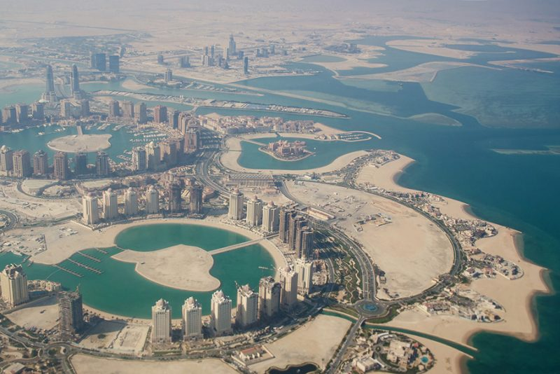 Flying over Qatar, Doha. The view from the airplane. Stock image